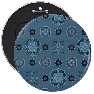 Retro Flowers Blue Button