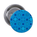 Retro Flowers Blue Buttons