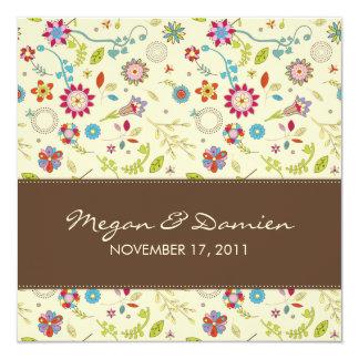 Retro Flowers · Brown · Wedding Invitation