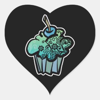 retro flowers cupcake heart stickers