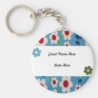 Retro Flowers Custom Favors Basic Round Button Keychain