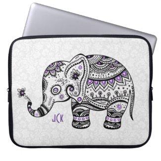 Retro Flowers & Elephant Purple Diamonds Laptop Computer Sleeves