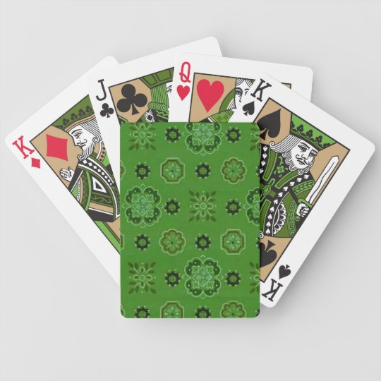 Retro Flowers Green  Playing Cards