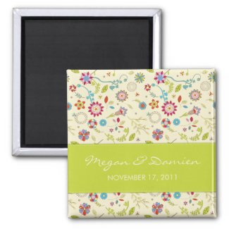 Retro Flowers · Green · Save the Date Magnet magnet
