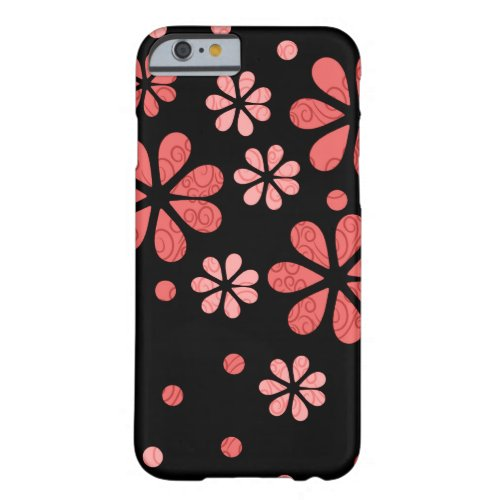 Retro Flowers In Coral On Black Barely There iPhone 6 Case