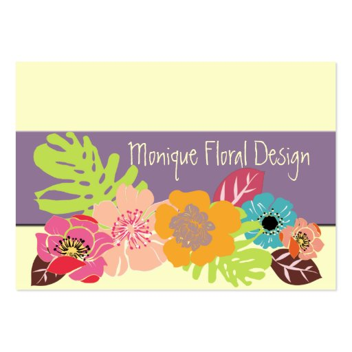 Retro Flowers Large Business Cards (Pack Of 100)