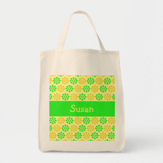 Retro Flowers Lemon and Lime Personalized Bag