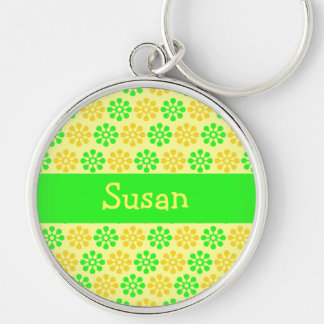 Retro Flowers Lemon and Lime Personalized Keyc Silver-Colored Round Keychain