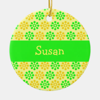 Retro Flowers Lemon and Lime Personalized Ornament