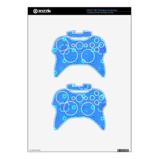 Retro Flowers Neon Blue Xbox 360 Controller Skin