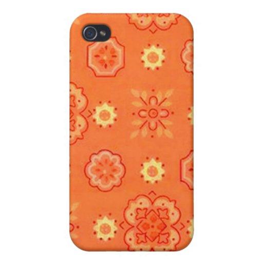 Retro Flowers Orange Case For iPhone 4
