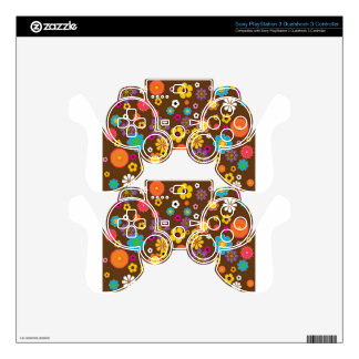 Retro Flowers Pattern design Decal For PS3 Controller