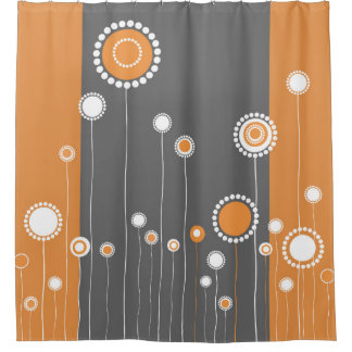 Orange Flowers Shower Curtains | Zazzle