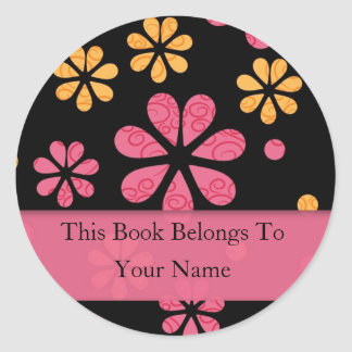 Retro Flowers Personalized Bookplates : Pink