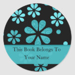 Retro Flowers Personalized Bookplates : Teal Classic Round Sticker