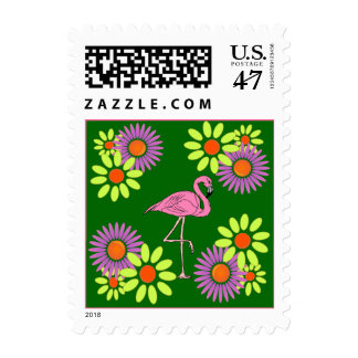 RETRO FLOWERS PINK FLAMINGO STAMP SNOWBIRD MAILING