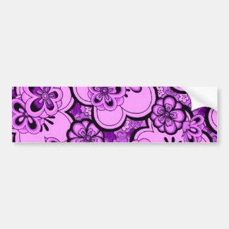 Retro Flowers Purple Amethyst Bumper Sticker