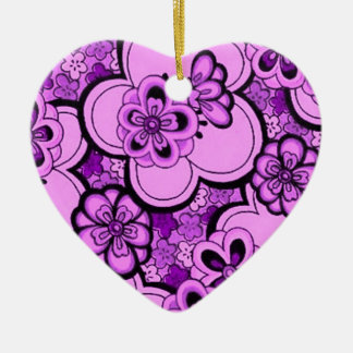 Retro Flowers Purple Amethyst Heart Ornaments