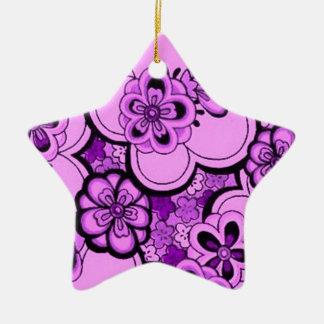 Retro Flowers Purple Amethyst Star Ornaments