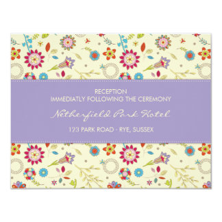 Retro Flowers · Purple · Reception Invitation