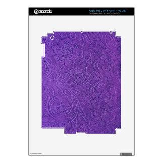 Retro Flowers-Purple Suede Leather Look iPad 3 Skin