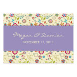 Retro Flowers · Purple · Wedding Favor Tag Large Business Cards (Pack Of 100)