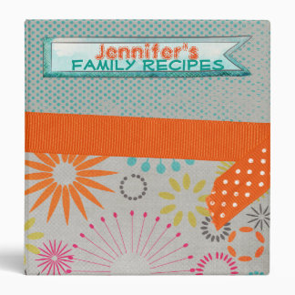 Retro Flowers Recipe Book Binder