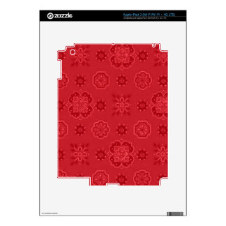 Retro Flowers Red Decal For iPad 3