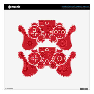 Retro Flowers Red Skin For PS3 Controller