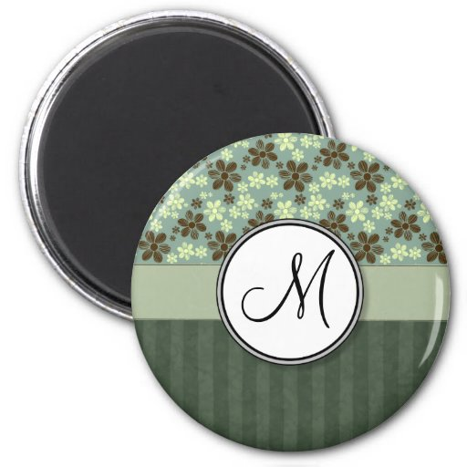 Retro Flowers Sea Green with Stripes and Monogram 2 Inch Round Magnet