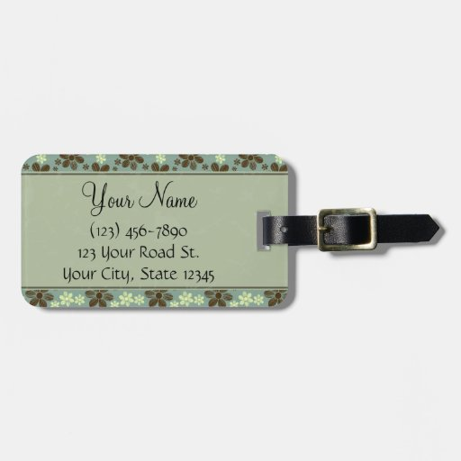 Retro Flowers Sea Green with Stripes and Monogram Bag Tags
