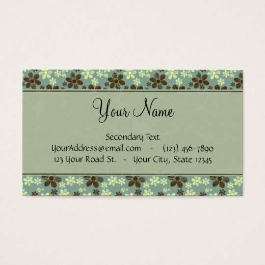 Retro Flowers Sea Green with Stripes and Monogram Business Card