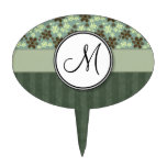Retro Flowers Sea Green with Stripes and Monogram Cake Pick