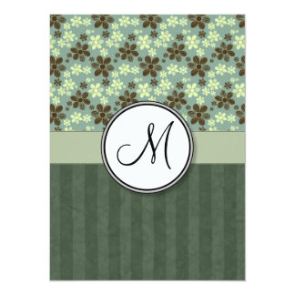 Retro Flowers Sea Green with Stripes and Monogram Card