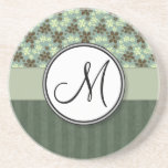 Retro Flowers Sea Green with Stripes and Monogram Drink Coasters