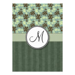 Retro Flowers Sea Green with Stripes and Monogram Custom Announcement