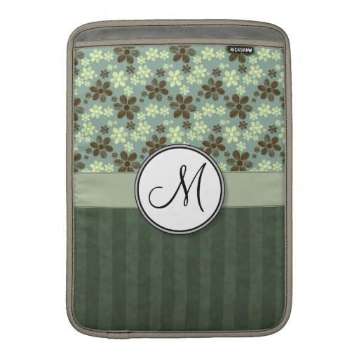 Retro Flowers Sea Green with Stripes and Monogram MacBook Air Sleeve