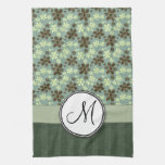 Retro Flowers Sea Green with Stripes and Monogram Towel