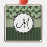 Retro Flowers Sea Green with Stripes and Monogram Christmas Ornaments