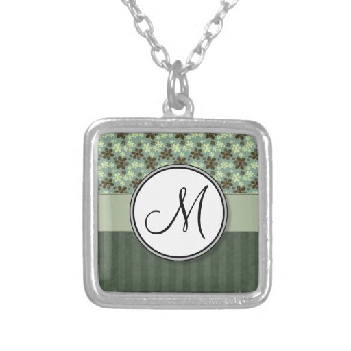 Retro Flowers Sea Green with Stripes and Monogram Square Pendant Necklace