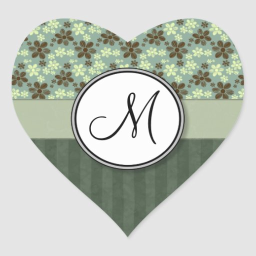 Retro Flowers Sea Green with Stripes and Monogram Heart Sticker