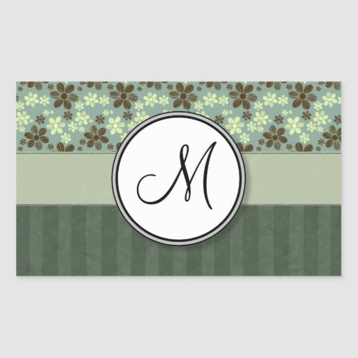 Retro Flowers Sea Green with Stripes and Monogram Sticker