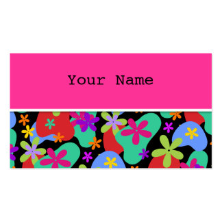Retro Flowers seamless pattern colored Business Card