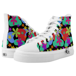 Retro Flowers seamless pattern colored High-Top Sneakers