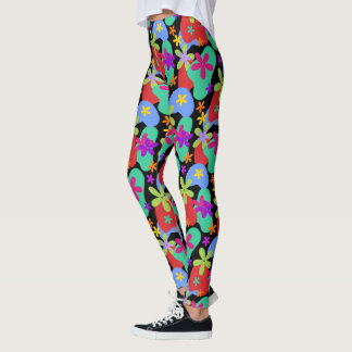 Retro Flowers seamless pattern colored Leggings