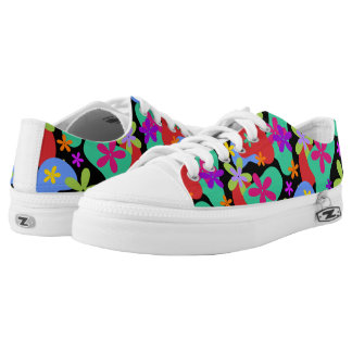 Retro Flowers seamless pattern colored Low-Top Sneakers