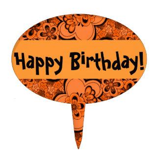 Retro Flowers Tangerine Orange Happy Birthday Cake Cake Pick