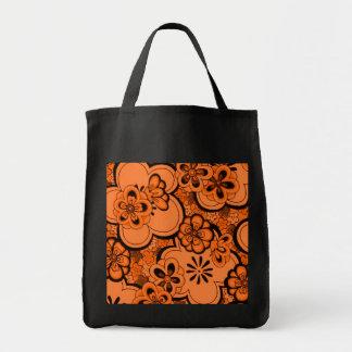 Retro Flowers Tangerine Orange Reusable Black Tote Bag