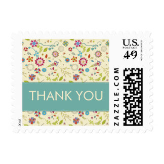 Retro Flowers · Teal · Thank You Stamp