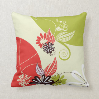 Retro flowers throw pillow